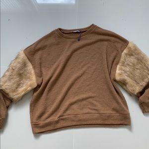 Zara tan fur sweater